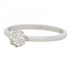 Ring kulka z kryształami 2 mm srebrny