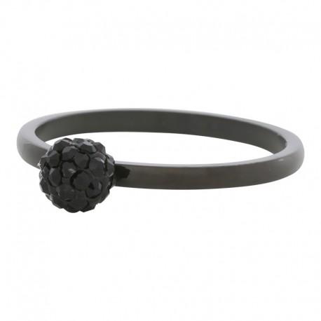 Ring kulka z kryształami 2 mm czarny
