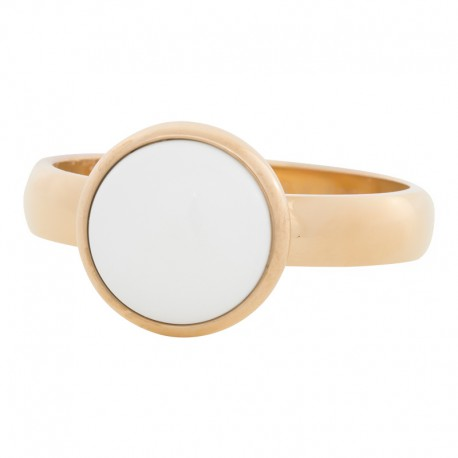 Ring biały kamień 4 mm złoty