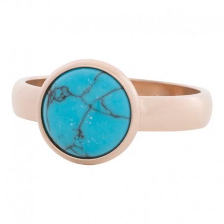Ring turkus 4 mm różowe złoto