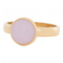 Ring różowy kamień 4 mm złoty