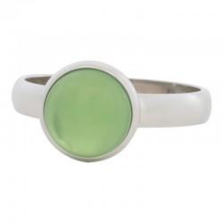 Ring zielony kryształ 4 mm srebrny