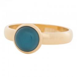 Ring niebieski kamień kocie oko 4 mm złoty