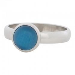 Ring niebieski kamień kocie oko 4 mm srebrny
