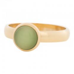 Ring zielony kamień kocie oko 4 mm złoty