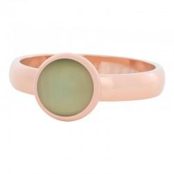 Ring zielony kamień kocie oko 4 mm różowe złoto