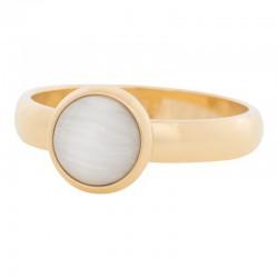 Ring biały kamień kocie oko 4 mm złoty
