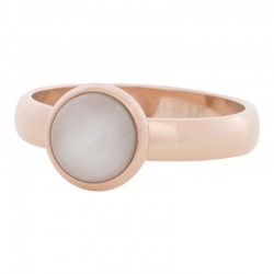 Ring biały kamień kocie oko 4 mm różowe złoto