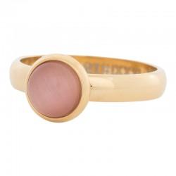 Ring różowy kamień kocie oko 4 mm złoty