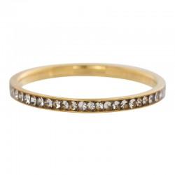 Ring cyrkonia kryształowa 2 mm złoty