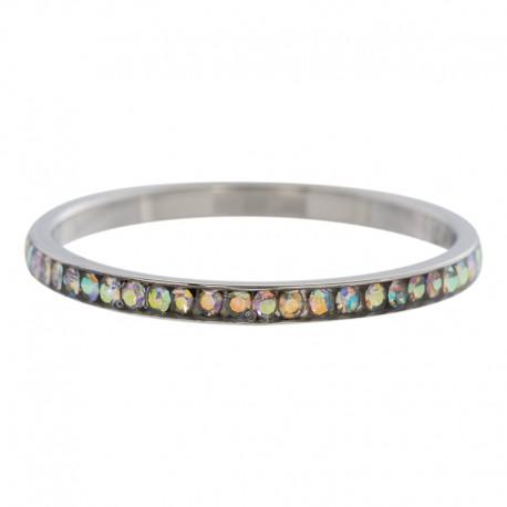 Ring cyrkonia transparentny kryształ 2 mm srebrny