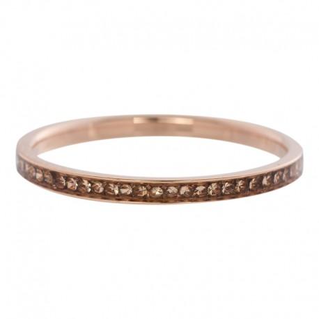 Ring cyrkonia szampania 2 mm różowe złoto