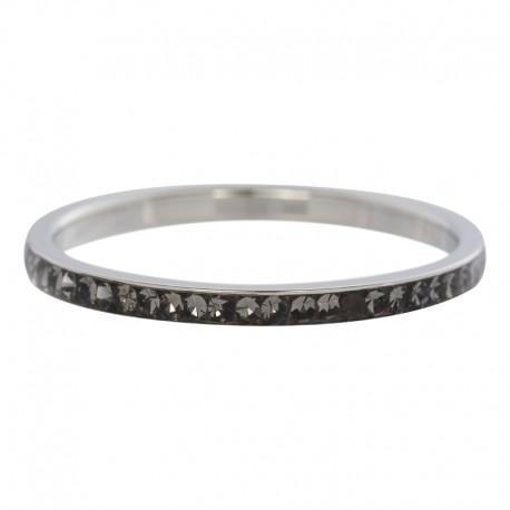 Ring cyrkonia czarna 2 mm srebrny