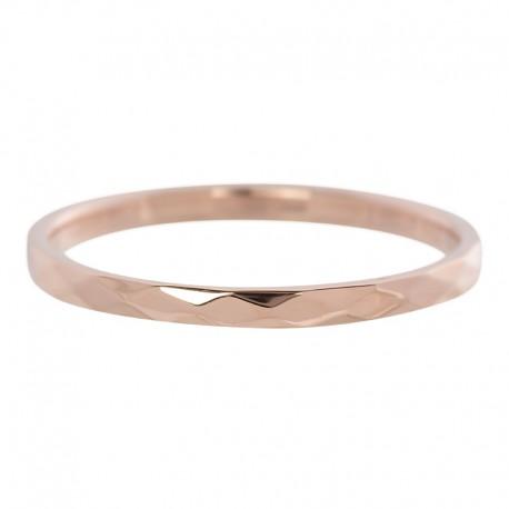 Ring młotkowany 2 mm różowe złoto