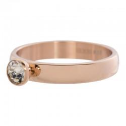 Ring 1 oczko cyrkonia 4 mm różowe złoto
