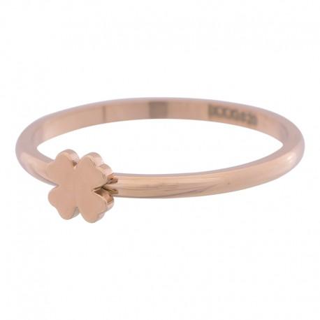 Ring symbol koniczyna 2 mm różowe złoto