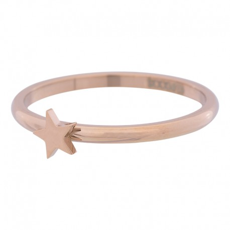 Ring symbol gwiazda 2 mm różowe złoto