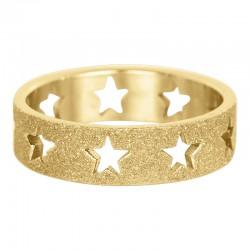 Ring piaskowana gwiazda 6 mm złoty