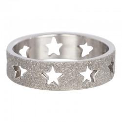 Ring piaskowana gwiazda 6 mm srebrny