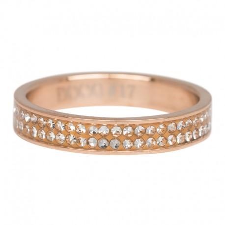 Ring podwójna cyrkonia 4 mm różowe złoto