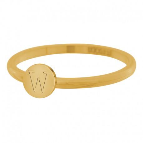 Ring litera W 2 mm złoty/różowe złoto/srebrny