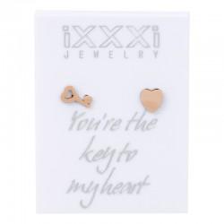 Kolczyki kluczyk + serce różowe złoto