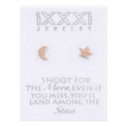 Kolczyki księżyc + gwiazdka różowe złoto