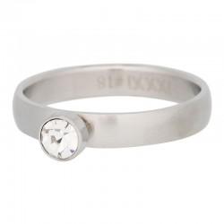 Ring 1 oczko cyrkonia 4 mm mat srebrny