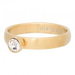Ring 1 oczko cyrkonia 4 mm mat złoty