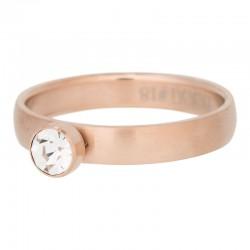 Ring 1 oczko cyrkonia 4 mm mat różowe złoto