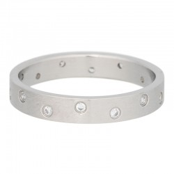 Ring 14 oczek cyrkonia 4 mm mat srebrny