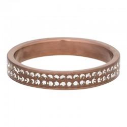 Ring podwójna cyrkonia 4 mm mat brązowy