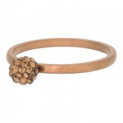Ring kulka z kryształami 2 mm brązowy