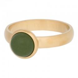 Ring kamień matowy oliwkowy 4 mm mat złoty