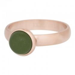 Ring kamień matowy oliwkowy 4 mm mat różowe złoto