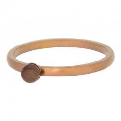 Ring kulka kocie oko 2 mm mat brązowy