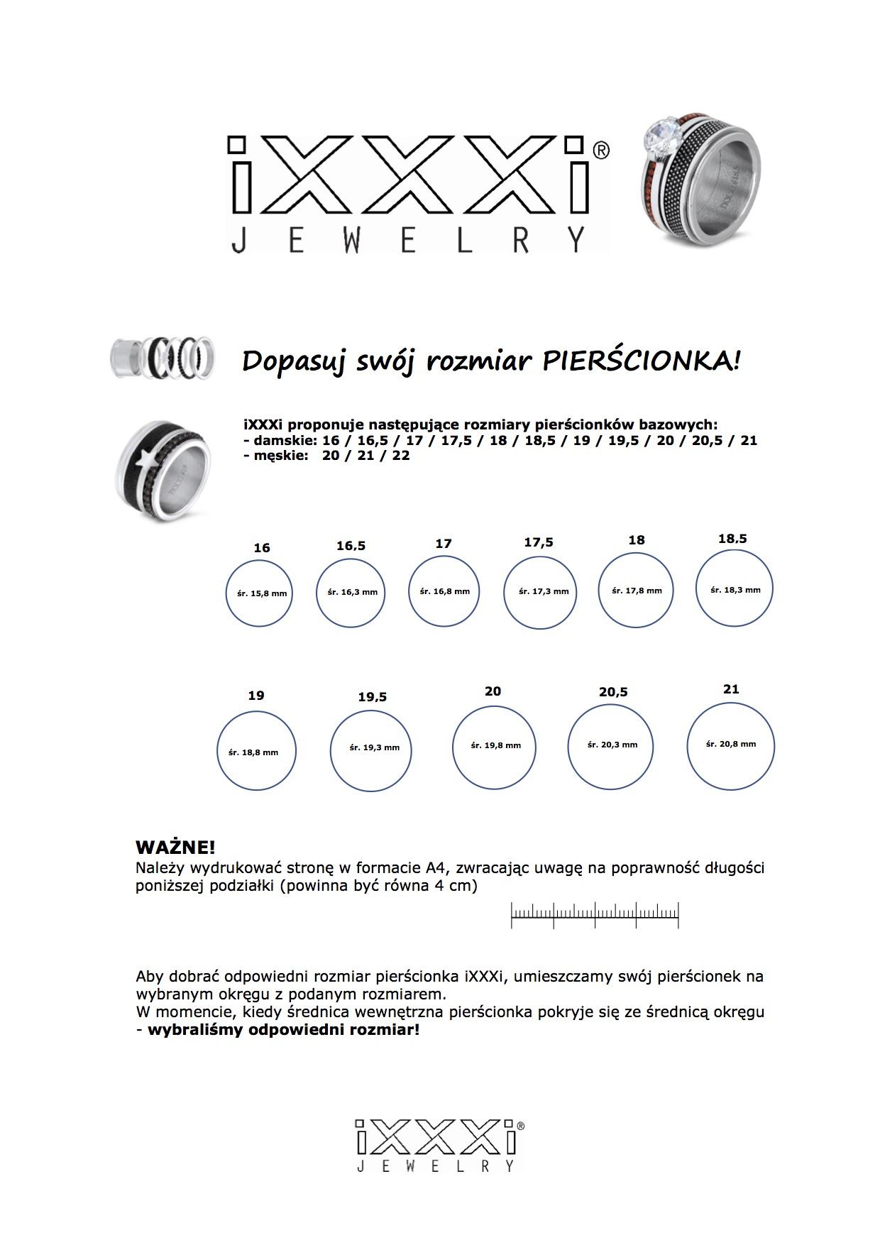 Jak wybrać rozmiar pierścionka IXXXI